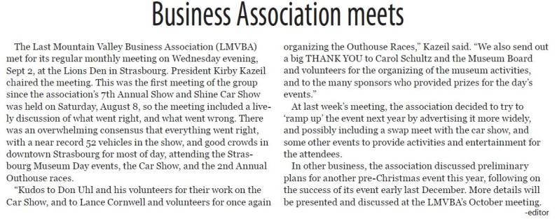 Last Mountain Valley Business Association